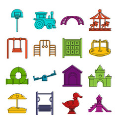 Playground icons doodle set vector