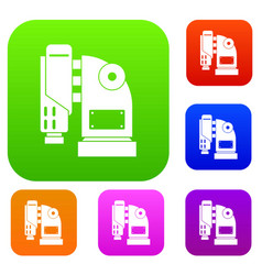 pneumatic hammer machine set color collection vector image