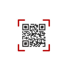 qr code in red scanning frame isolated on white vector image