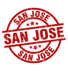 San jose red round grunge stamp vector