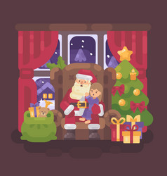 santa claus sitting in a chair in a cozy room vector image