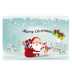 Santa clausreindeerwith gift box ornament merry vector