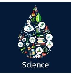 Science symbols in a drop shape vector image