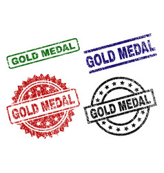scratched textured gold medal stamp seals vector image