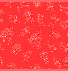 Seamless happy valentine day pattern hand drawn vector