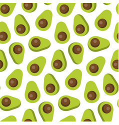 seamless pattern avocado in flat style vector image