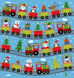 Seamless pattern train with christmas characters vector
