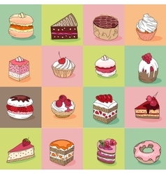 Seamless pattern with different kinds of dessert vector image