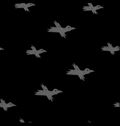 seamless pattern with grey sketch crows on vector image