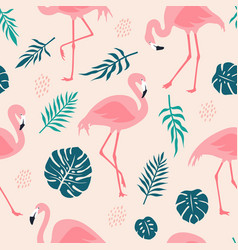 seamless pattern with pink flamingos and tropical vector image