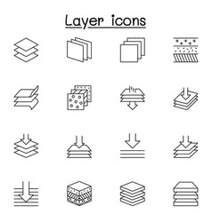 Set layer related line icons contains such vector