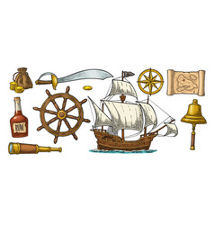 set pirate adventure color vintage vector image