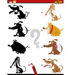 shadow task with dogs for kids vector image