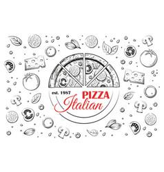 Sketch italian pizza and logo vector