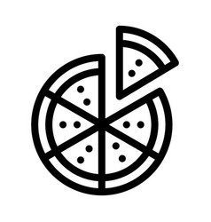 sliced pizza icon outline vector image