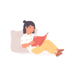 Smiling little girl sitting with open book vector
