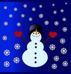 Snowman with a cylinder vector