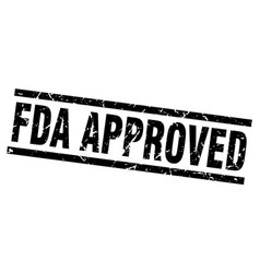 Square grunge black fda approved stamp vector