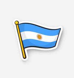 Sticker flag argentina on flagstaff vector