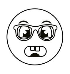 Terrified emoji face wearing eyeglasses line style vector