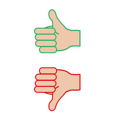 thumb up down hand on a white background vector image