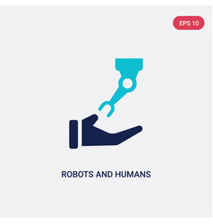 Two color robots and humans icon from artificial vector