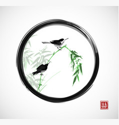 two little birds sitting on bamboo branch in black vector image