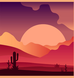 View on sunset in sandy desert landscape with vector
