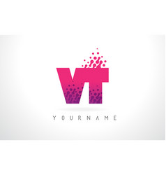 vt v t letter logo with pink purple color and vector image