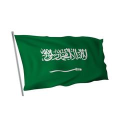 waving in wind flag of saudi arabia on pole vector image
