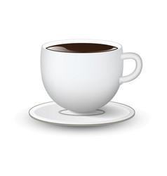 white cup with saucer on background vector image