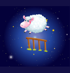white sheep jumping over fence at night vector image