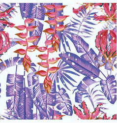 winter tropical seamless composition flowers vector image