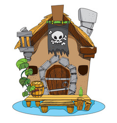 Witches hut cartoon of a house sorceress drawing vector