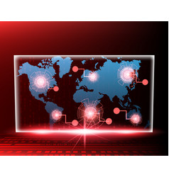 world map cyber line attack by hacker red concept vector image