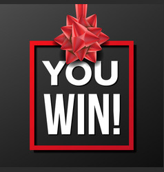 you win banner festive sign lottery vector image