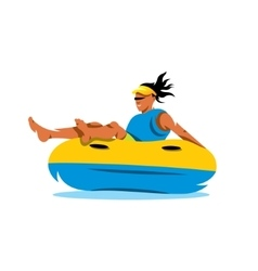 Young girl having lots of fun on rubber ring going vector