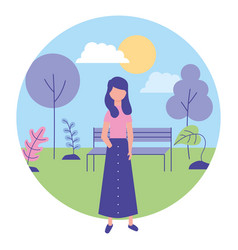 young woman with landscape in park vector image