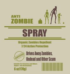 anti zombies spray label vector image