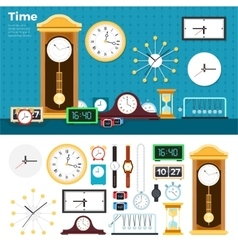 Different clocks in the room vector image