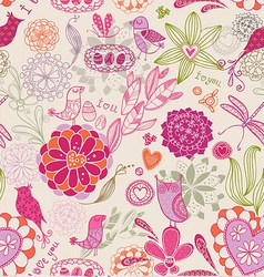 Floral seamless background with birds vector image vector image