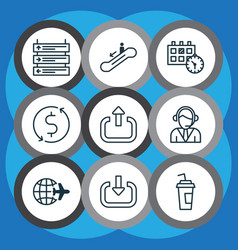 Set of 9 transportation icons includes drink cup vector