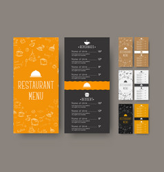 set of coffee narrow menu for a cafe or vector image