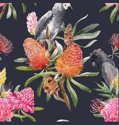 watercolor tropical australian pattern vector image vector image