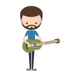 bearded musician artist playing guitar vector image