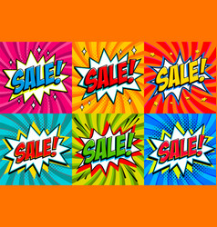 big sale set comic style template banners 4 sale vector image vector image