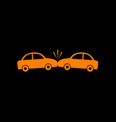 crashed cars sign orange icon on black background vector image vector image