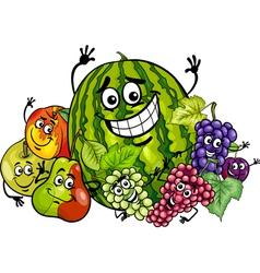 fruits group cartoon vector image