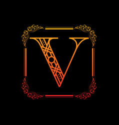 letter v with ornament vector image