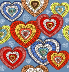 Ornamented color hearts seamless background vector image vector image